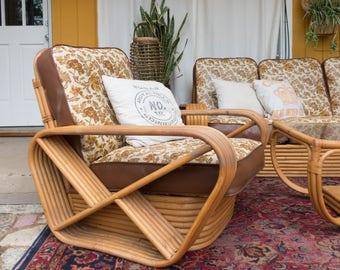 Vintage Paul Frankl 6 Strand Pretzel Rattan 7 Piece Living Room Set