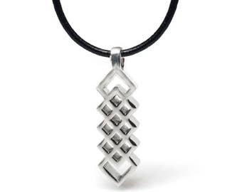 Stainless Steel Jewelry, Mens Necklace, Celtic Knot Pendant, Geometric JEwelry, Black Leather Cord, Unisex Jewelry, Unique Necklace
