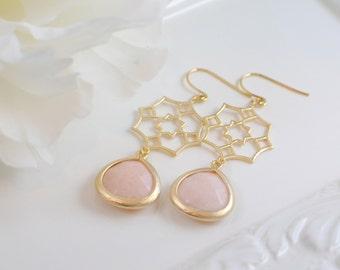 The Celina Earrings - Blush