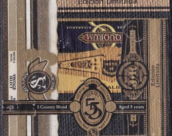 2016 Cigar Band Collage Coaster: Black & Gold Quorum