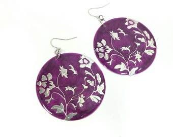 Big Purple Circle Metal Earrings