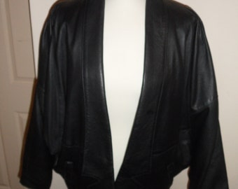 Totally 1980s Black leather batwing Jacket