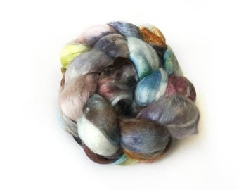 Superfine Merino Wool And Mulberry Silk 50/50 Blend Brick Form Destash Hand Dyed Spinning Felting Fiber 82 gm 2,9 oz