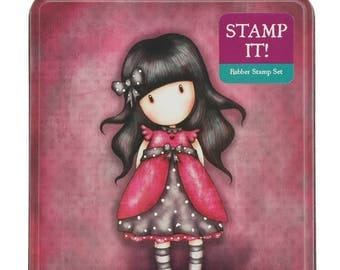SANTORO - LADYBIRD GORJUSS GIRLs Stamp Set in a Tin with Stamp Ink Pad  - In stock Now !