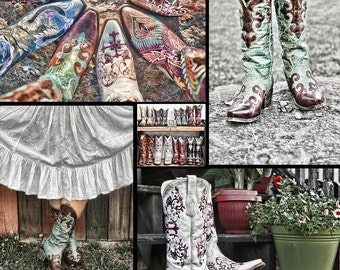 Cowgirl Cowboy Boots Shoes Western Collage Americana Colorful Equestrian Farm Country Color Fine Art Photo Print