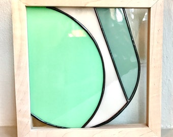 Modern Geometric Stained Glass Panel