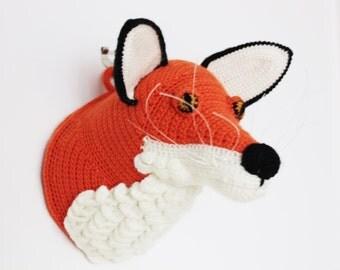 Crochet Fox Head - Taxidermy - Crochet Wall Art - 3D Sculptural Crochet - For Animal Lovers - Home Décor - Nursery room - Head Trophy
