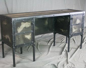 Modern Industrial Desk with Storage Cabinets, Reclaimed Wood Desk. French Industrial Style Desk. Modern Desk, Vintage Industrial Table.
