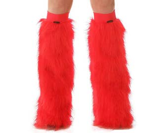 Red Rave Fluffies - Fluffy Leg Warmers - Furry Boot Covers - Long Pile Faux Fur Red Fluffies