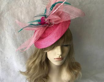 Pink wedding fascinator hat, pink church hat, pink Derby hat for races, pink cocktail tea party hat