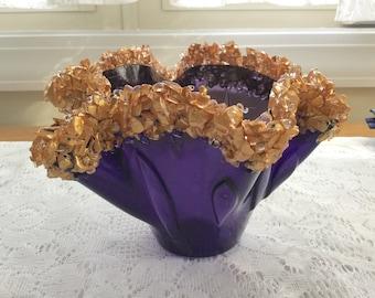 Fused Glass Vase, Purple Gold Crystal Art Glass Sculpture