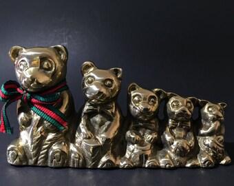 Brass Teddy Bear Family Vintage