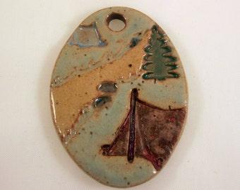 Large Glazed Pottery Pet Cremains Motif Pendant or Ornament - Custom Memorial Pet Cremation Keepsake -  CAMPING TRAIL