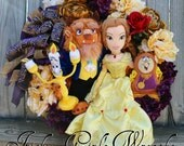 Deluxe Beauty & the Beast Wreath, Disney Wreath, Princess Belle, Lumiere, Cogsworth, Fairy Tale Wreath, Everyday Wreath, Nursery Wreath