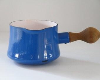 Blue Dansk Kobenstyle Butter Warmer Wooden Handle Enamelware Quistgaard France Danish Modern Colorful Vintage Kitchen Decor