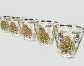 5 Georges Briard Sonata Rocks Glasses, 22K Gold and White Cocktail Low Ball Glasses, Vintage Barware, Retro Old Fashioned Glasses