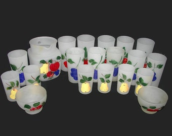 20 Piece Frosted Glass Set, Federal Glass Hand Painted Gay Fad Fruit Pitcher, Tumblers, Juice Glasses, Sherbets