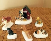 Miniature Cats Dogs Department 56 Village Accessories Set of Six 6