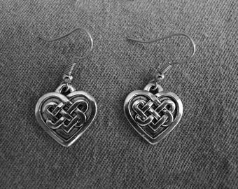 Beautiful pair of Silver Earrings with Celtic Heart and Hypoallergenic Surgical Steel Ear Wires