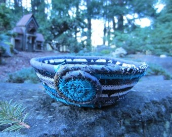 Teal & Gray Coiled Fabric Basket