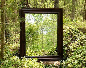 Ready to Ship!! Dark Wood Mirror, Rustic Mirror, Alder Mirror, Large Wall Mirror