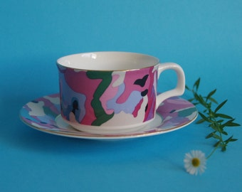 Funky teacup pink abstract camouflage design fine bone china 1980s