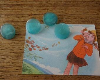 Vintage button set opaque aqua blue buttons sewing notion craft supplies mixed media art beads