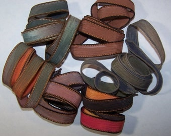 Discontinued/Experimental Ribbons/ Sassy Silks Hand Painted/Dyed Ribbons  Lot 100-0688