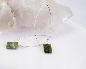Earrings green jasper faceted square stones on handmade sterling silver 20 guage wires long earrings green jasper pillows