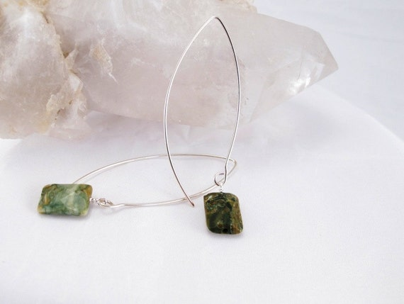 Earrings green jasper faceted square stones on handmade sterling silver 20 guage wires long earrings green jasper pillows