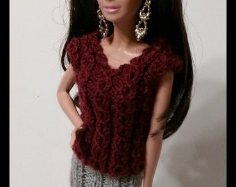 Burgundy sweater with grey skirt for Barbie