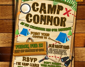 Camp Out  Invitation, Camping Invitation, Boys Sleepover Invitation, Campout Birthday Invitation, Backyard Campout Sleepover R-158