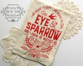 I Sing because I'm happy, His Eye is on the Sparrow. Hymn Natural Cotton Flour Sack Tea Towel. Hymn Art. Hostess gift. Christmas gift
