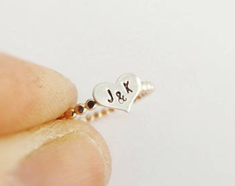 Beaded Heart Initial Stacking Ring,Personalized Rings,Minimalist Rings,Initial Rings, Heart Stacking Rings, Heart Ring, Rings, Couples Rings