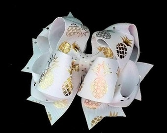 Pineapple Hair Bow...Gold Foil Pineapple Bow...White and Gold Bow...Gold and White bow...Pineapple Bow
