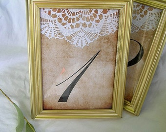 Gold Table Card Frames Table Numbers Wedding Table Cards Rustic Lace Vinage Doily Gold Table Card Frame Elegant Reusable Gold Table Frames