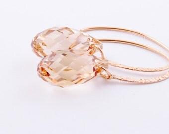 Gold Fill Swarovski Crystal Earrings - Golden Shadow Earrings