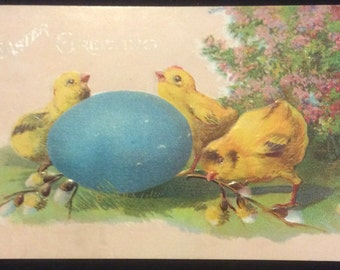 Easter Postcard-Chicks with Blue Egg