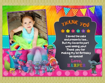 Trolls Birthday Thank You Card, Trolls Thank You Card, DIY Printables