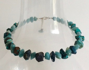 Handmade Beaded Necklace Chunky Amazonite, Turquoise, Sterling Silver