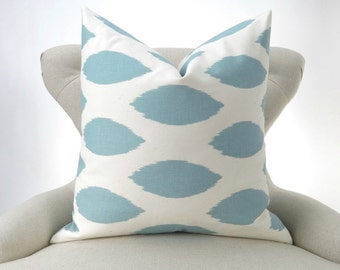 Blue Ikat Pillow Cover -MANY SIZES- Light Blue Ikat Cushion Cover, Euro Sham, Off-white/Ecru Throw, Chipper Village Premier Prints, FREESHIP
