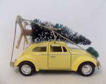 "R*E*S*E*R*V*E*D for ""Merrie"" - Classic ""Lt. Yellow"" VW Beetle Car with Christmas Tree ~  VW Bug ~ Volkswagen ~ I'll Be Home For Christmas"
