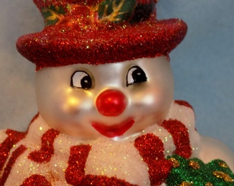 SNOWMAN ~ Vintage Christmas Holiday Large Snowman Glass Ornament ~ Frosty ~ Handpainted Glass ~ Glass Snowman Ornament ~ Winter Wonderland