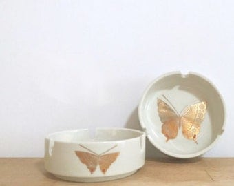 Two Vintage White & Gold Butterfly Ashtrays
