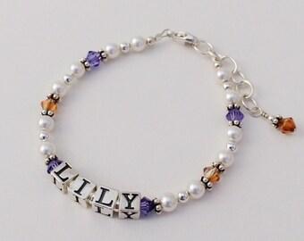 Baby Child Personalized Name Sterling Silver White Pearl Swarovski Crystal Birthstone Bracelet Flower Girl Gift Baptism Christening