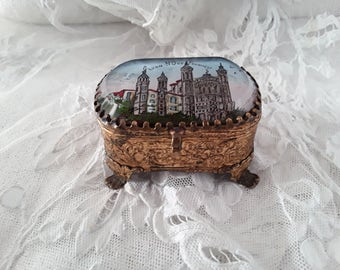 French Vintage , Jewel Box, Ex Voto, France, France Antique, Wedding Gifts,  Reliquary, Vintage Gifts, French Glass Box, Shabby Chic,