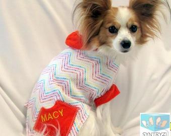 Dog Hoodies-Sweaters Custom Sizes xxsmall - Xlarge Orange trimmed zigzag print Soft cotton jersey
