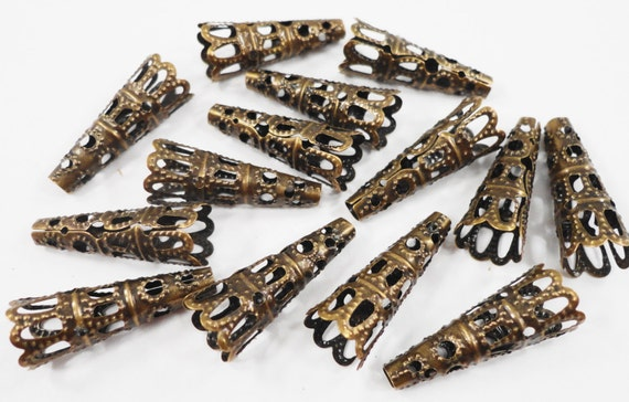 Bronze Cone Bead Caps 22x8mm Antique Brass Bead Caps, Bronze Bead Caps, Bronze End Caps, Filigree Bead Caps, Beadcaps, Jewelry Findings 20pc