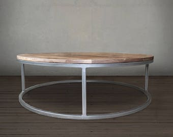 Round Coffee Table, Wood and Metal Coffee Table