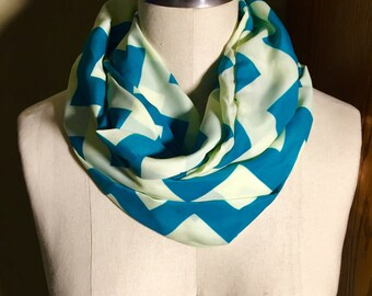 Silky Green and Blue Chevron Infinity Scarf